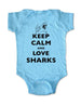 Keep Calm and Love Sharks - Baby One-Piece Bodysuit, Infant, Toddler, Youth Shirt