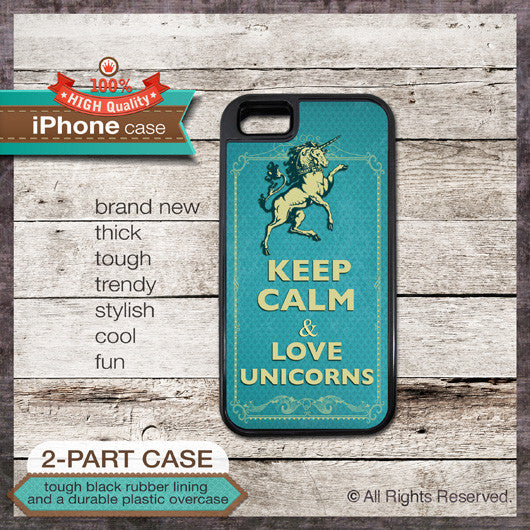 Keep Calm & Love Unicorns - Choose from iPhone 4/4S, 5/5S, 5C, Samsung Galaxy S3 or S4 Case