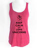 Keep Calm and Love Unicorns - Soft Tri-Blend Racerback Tank