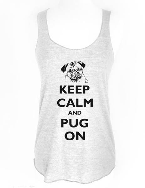 Keep Calm and Pug On - Soft Tri-Blend Racerback Tank