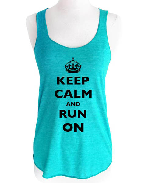 Keep Calm and Run On - Soft Tri-Blend Racerback Tank