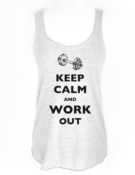 Keep Calm and Work Out - Soft Tri-Blend Racerback Tank