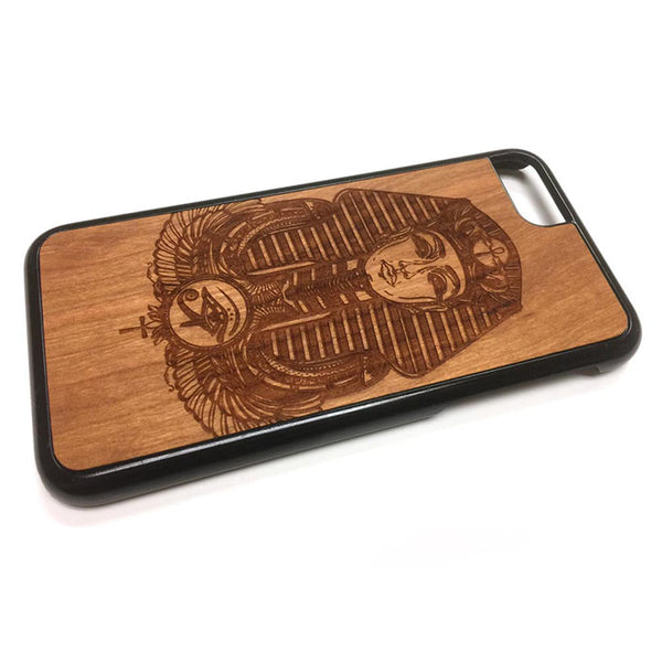 King Tut Egyptian iPhone Case Carved Engraved design on Real Natural Wood - For iPhone 7/8, 6/6s, 6/6s Plus, SE, 5/5s, 5C, 4/4s
