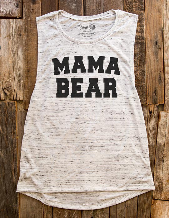 Mama Bear - design1 Athletic Font - Women's Flowy Muscle Tank - Fitness, gym, yoga, workout