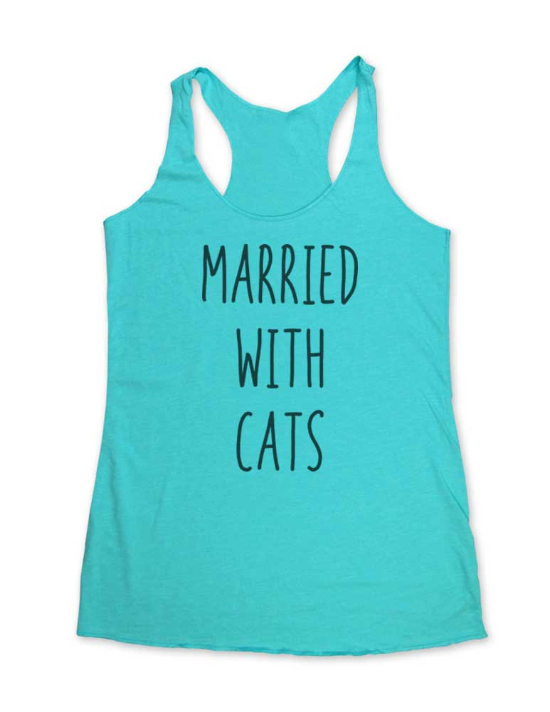 Married With Cats - Soft Tri-Blend Racerback Tank - Fitness workout gym exercise tank