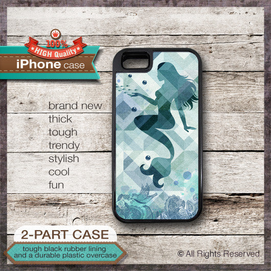 Mermaid Design 01 - Choose from iPhone 4/4S, 5/5S, 5C, Samsung Galaxy S3 or S4 Case