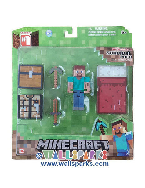 MINECRAFT - SURVIVAL ACTION PACK NIB - Steve Accessories Fully Articulated