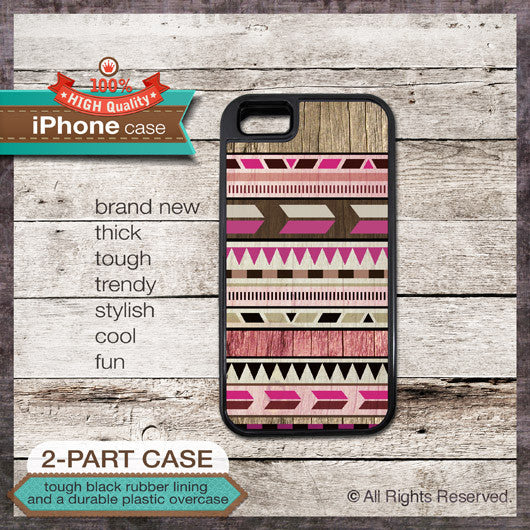 Modern Graphic No. 47c Pink Aztec Tribal Geometric Design - Choose from iPhone 4/4S, 5/5S, 5C, Samsung Galaxy S3 or S4 Case