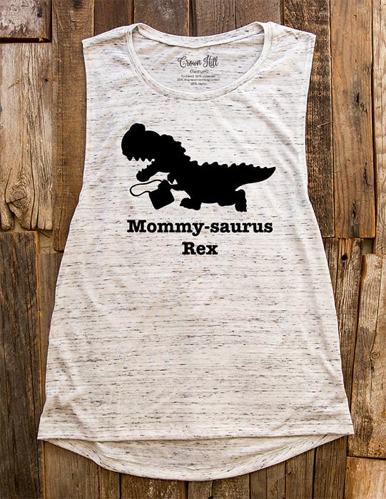 Mommy-saurus Rex - Dinosaur Birthday Party Shirt - Women's Flowy Muscle Tank - Fitness, gym, yoga, workout