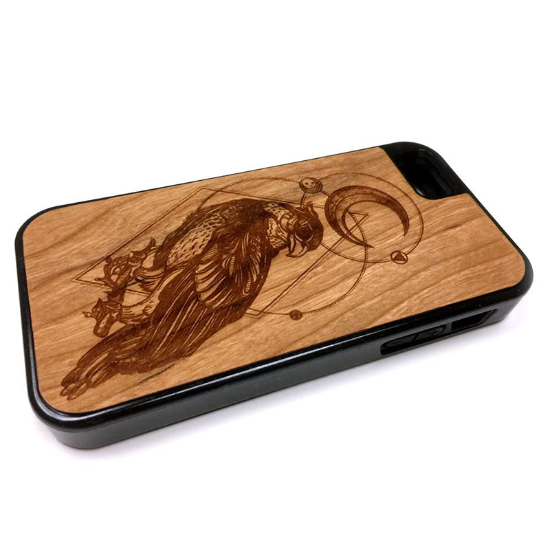 Moon Bird Boho design iPhone Case Carved Engraved design on Real Natural Wood - For iPhone X/XS, 7/8, 6/6s, 6/6s Plus, SE, 5/5s, 5C, 4/4s