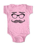 Mustache Eyeglasses Eyebrows - Baby One-Piece Bodysuit, Infant, Toddler, Youth Shirt