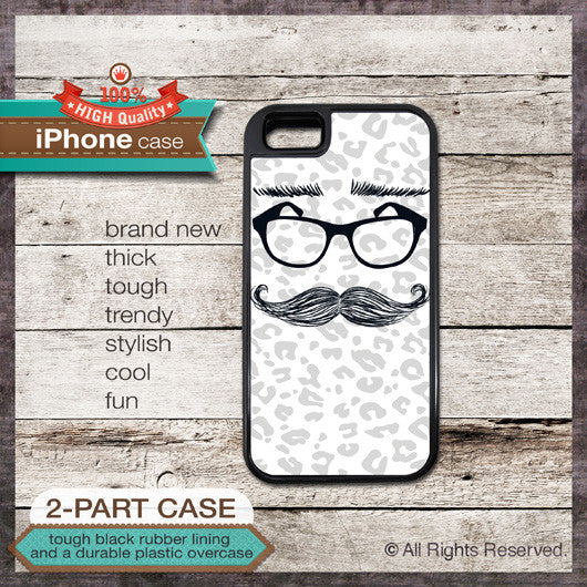 Mustaches 23 Eyglasses Eyebrows - Choose from iPhone 4/4S, 5/5S, 5C, Samsung Galaxy S3 or S4 Case
