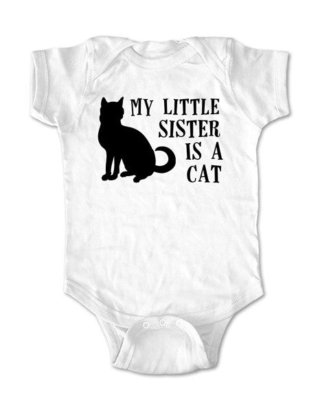 My little sister is a cat - Baby One-Piece Bodysuit, Infant, Toddler, Youth Shirt