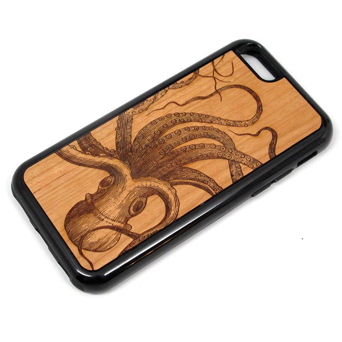Octopus iPhone Case Carved Engraved design on Real Natural Wood - For iPhone X/XS,7/8, 6/6s, 6/6s Plus, SE, 5/5s, 5C, 4/4s