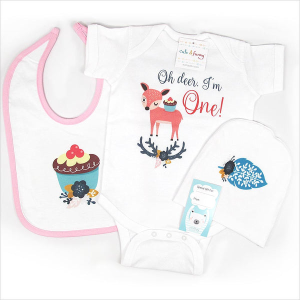 Oh deer, I'm One! Gift Set for 1st First Birthday Girl - One year old - Cute deer boho style design  - cute & funny baby onesie bodysuit or shirt