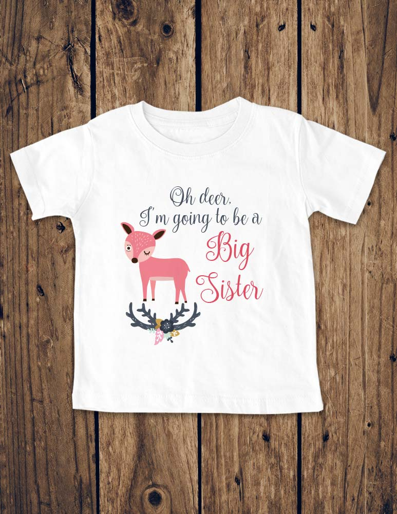 Oh deer, I'm Going To Be A Big Sister - Boho design Baby Birth Pregnancy Announcement Onesie Bodysuit, Infant, Toddler, Youth Shirt