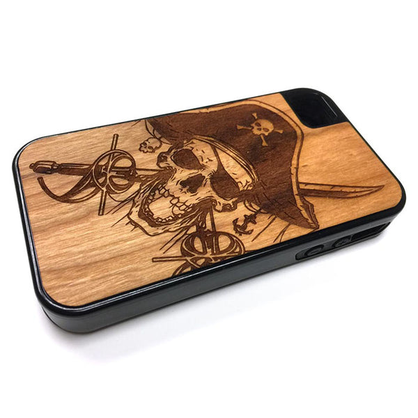 Pirate iPhone Case Carved Engraved design on Real Natural Wood - For iPhone 7/8, 6/6s, 6/6s Plus, SE, 5/5s, 5C, 4/4s