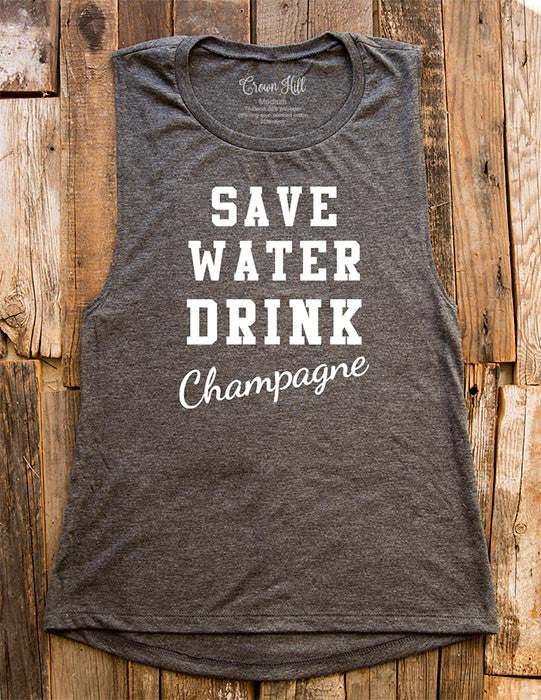Save Water Drink Champagne - Bridal Shower Wedding - Women's Flowy Muscle Tank - Fitness, gym, yoga, workout
