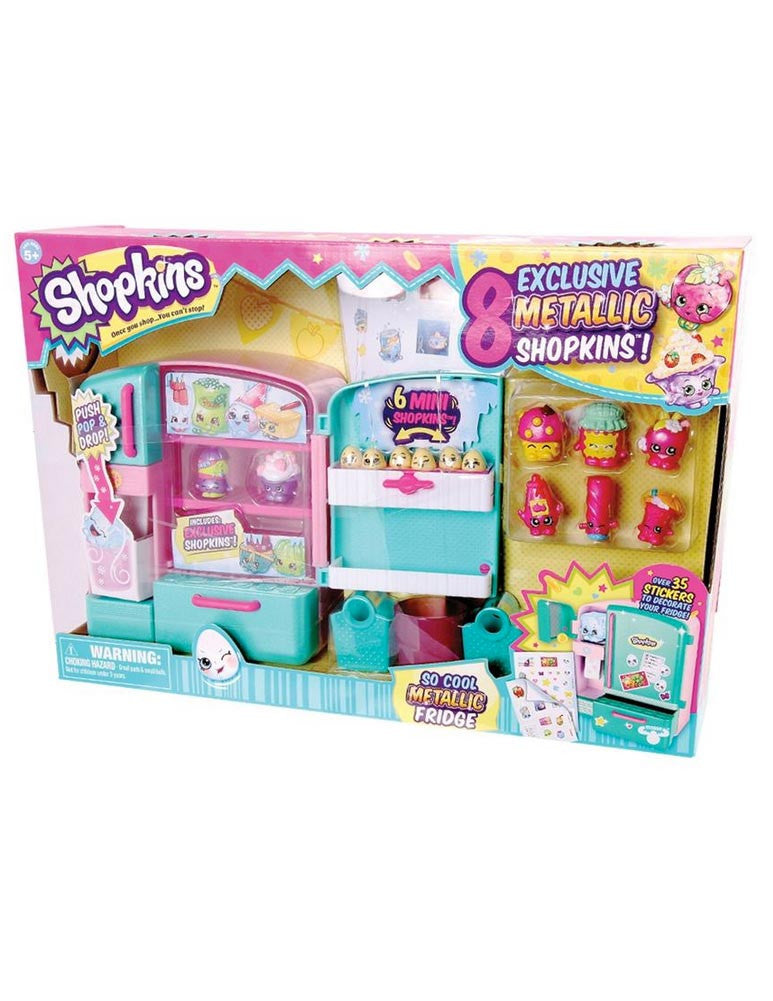 Shopkins Metallic Fridge Playset with 8 Exclusive Metallic Shopkins characters