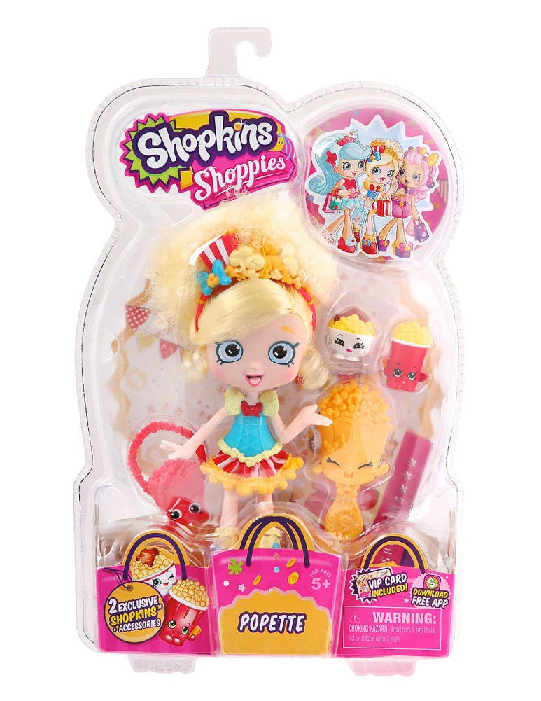 Shopkins Shoppies Doll - Popette - Brand New!! Exclusive Shopkins Included!