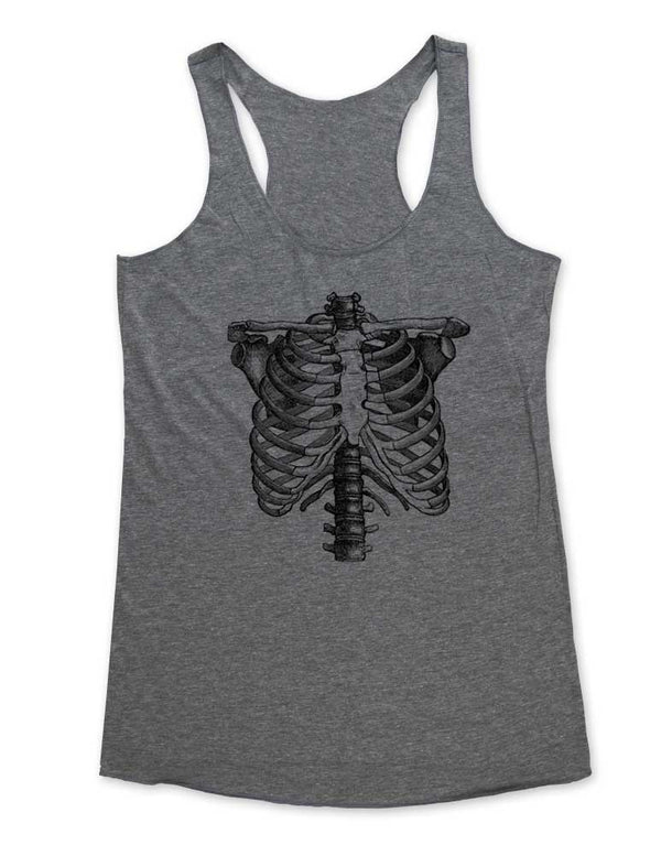 Skeleton Ribs graphic - Soft Tri-Blend Racerback Tank