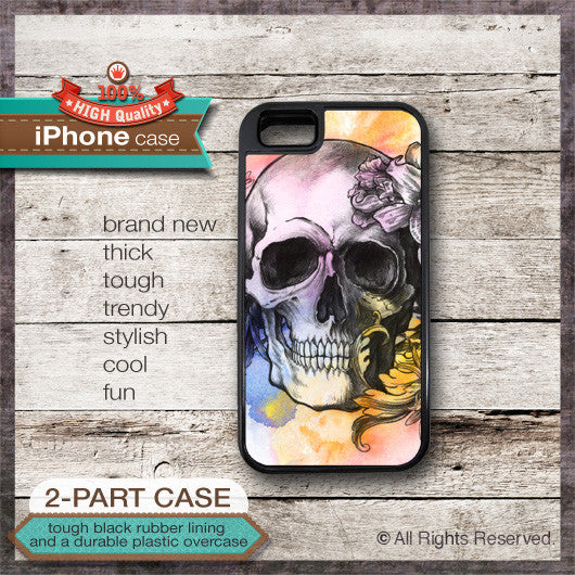 Skull and Flowers Design 1 - Choose from iPhone 4/4S, 5/5S, 5C, Samsung Galaxy S3 or S4 Case