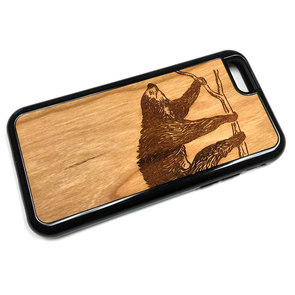 Sloth Graphic iPhone Case Carved Engraved design on Real Natural Wood - For iPhone 7/8, 6/6s, 6/6s Plus, SE, 5/5s, 5C, 4/4s