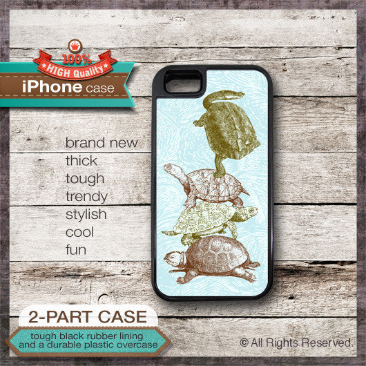 Funny Turtles Climbing Design - Choose from iPhone 4/4S, 5/5S, 5C, Samsung Galaxy S3 or S4 Case