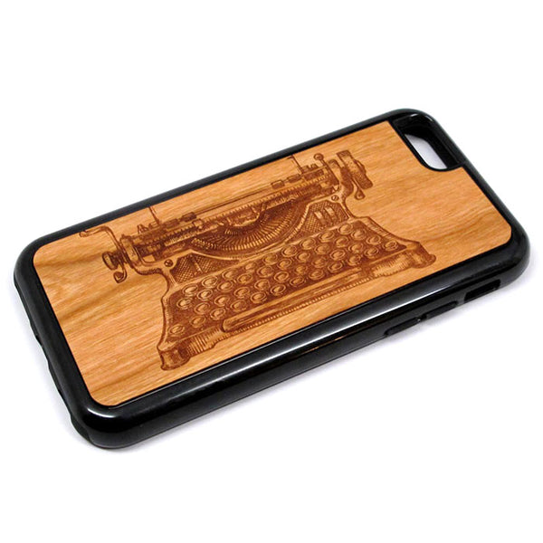 Typewriter graphic iPhone Case Carved Engraved design on Real Natural Wood - For iPhone 7/8, 6/6s, 6/6s Plus, SE, 5/5s, 5C, 4/4s