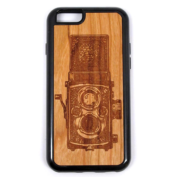 Vintage Camera design 12 iPhone Case Carved Engraved design on Real Natural Wood - For iPhone 7/8, 6/6s, 6/6s Plus, SE, 5/5s, 5C, 4/4s