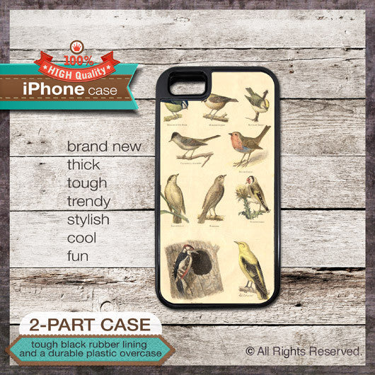 Vintage Birds Illustration - Choose from iPhone 4/4S, 5/5S, 5C, Samsung Galaxy S3 or S4 Case