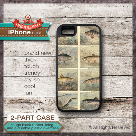 Vintage Fish Illustration - Choose from iPhone 4/4S, 5/5S, 5C, Samsung Galaxy S3 or S4 Case