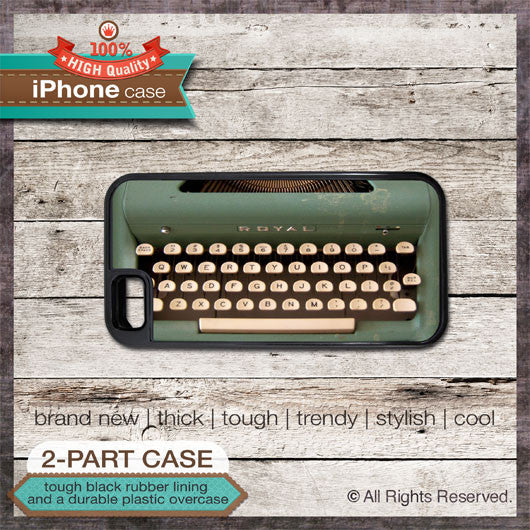 Vintage Green Typewriter - Choose from iPhone 4/4S, 5/5S, 5C, Samsung Galaxy S3 or S4 Case