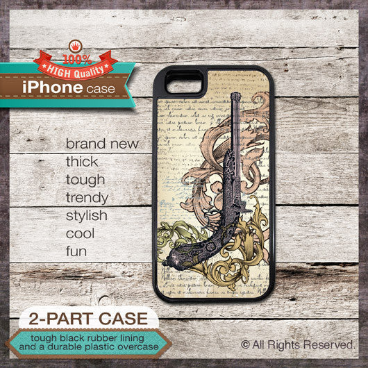 Vintage Gun Design 2 - Choose from iPhone 4/4S, 5/5S, 5C, Samsung Galaxy S3 or S4 Case