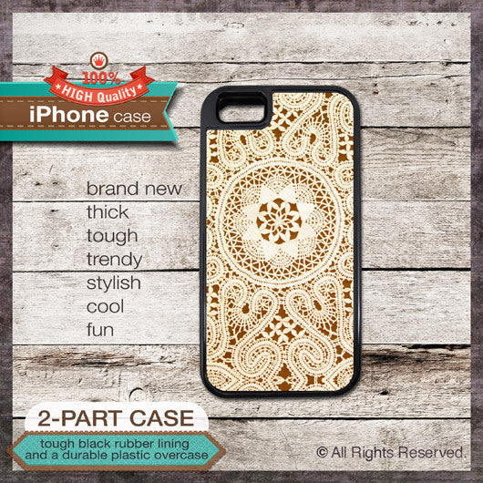 Vintage Lace Design 08 - Choose from iPhone 4/4S, 5/5S, 5C, Samsung Galaxy S3 or S4 Case