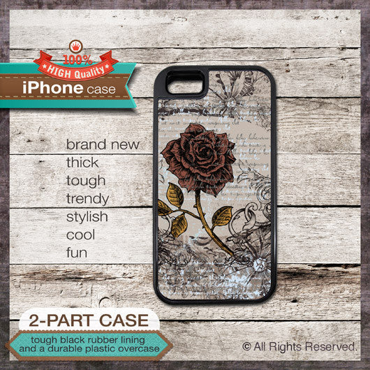 Vintage Rose Design 3 - Choose from iPhone 4/4S, 5/5S, 5C, Samsung Galaxy S3 or S4 Case