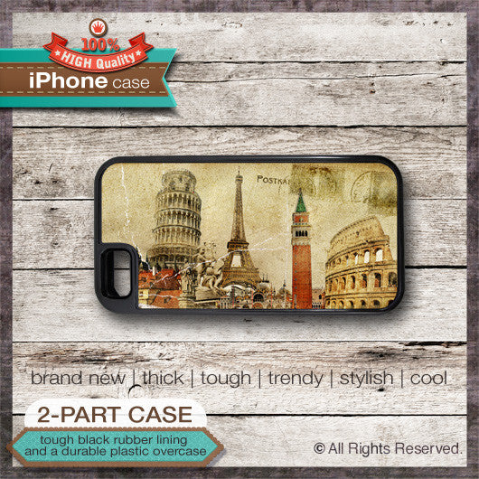 Vintage Travel Postcard Design 1 - Choose from iPhone 4/4S, 5/5S, 5C, Samsung Galaxy S3 or S4 Case