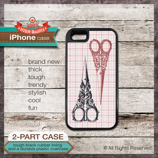 Vintage Scissors on Plaid Pattern - Choose from iPhone 4/4S, 5/5S, 5C, Samsung Galaxy S3 or S4 Case