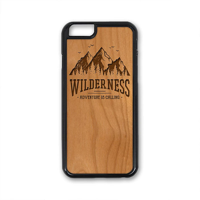 Wilderness Mountains Birds iPhone Case Carved Engraved design on Real Natural Wood - For iPhone X/XS, 7/8, 6/6s, 6/6s Plus, SE, 5/5s, 5C, 4/4s