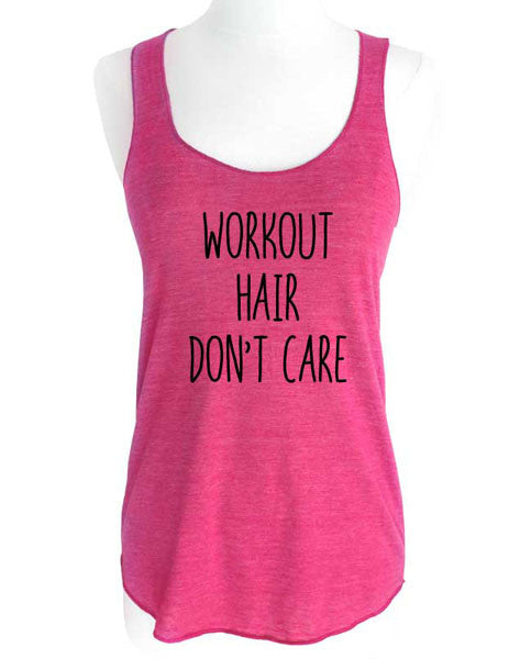 Work Out Hair Don't Care - design2 - Soft Tri-Blend Racerback Tank