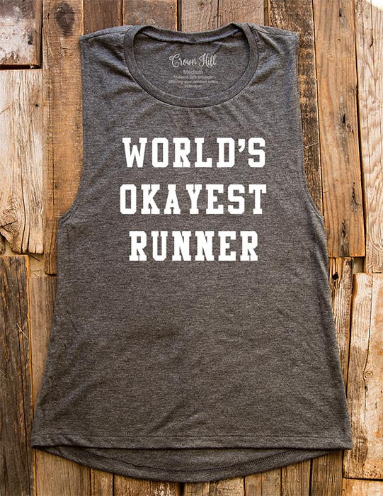 World's Okayest Runner - Women's Flowy Muscle Tank - Fitness, gym, yoga, workout