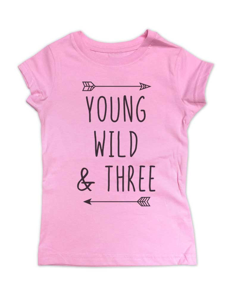Young Wild & Three - Girls Slim Fitted cool boho Birthday Shirt 3rd Age 3 Two year old Fine Jersey Toddler Shirt
