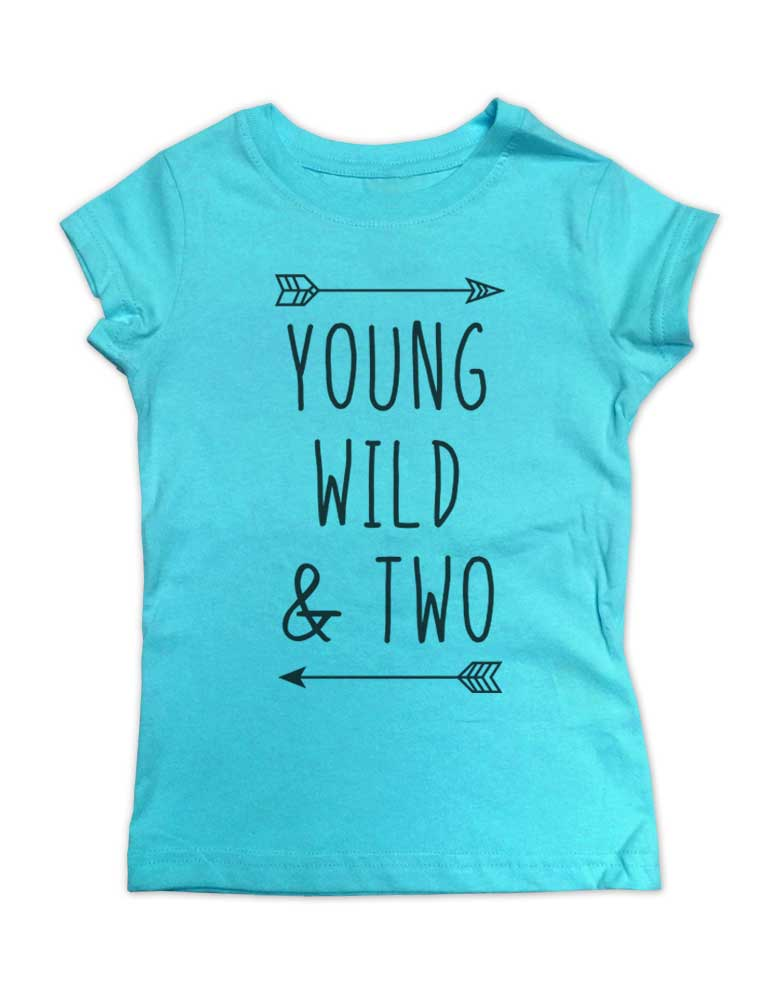 0b2d08a1 Young Wild & Two - Girls Slim Fitted cool boho Birthday Shirt 2nd Age 2 Two