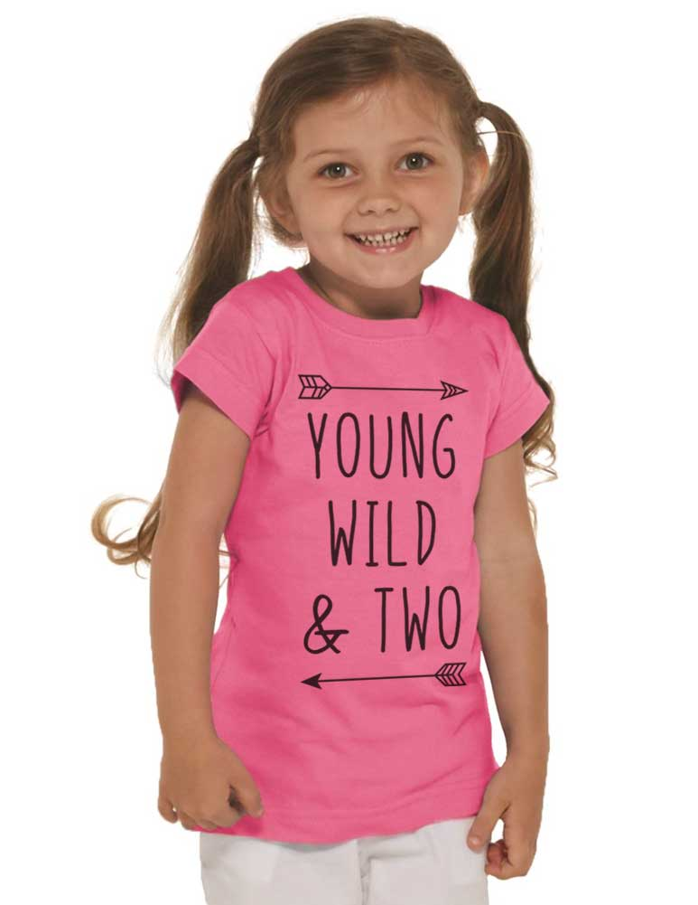 Young Wild & Two - Girls Slim Fitted cool boho Birthday Shirt 2nd Age 2 Two year old Fine Jersey Toddler Shirt