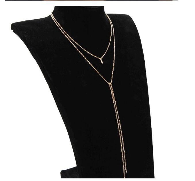 Simple Gold Silver Color Chain Choker Necklace