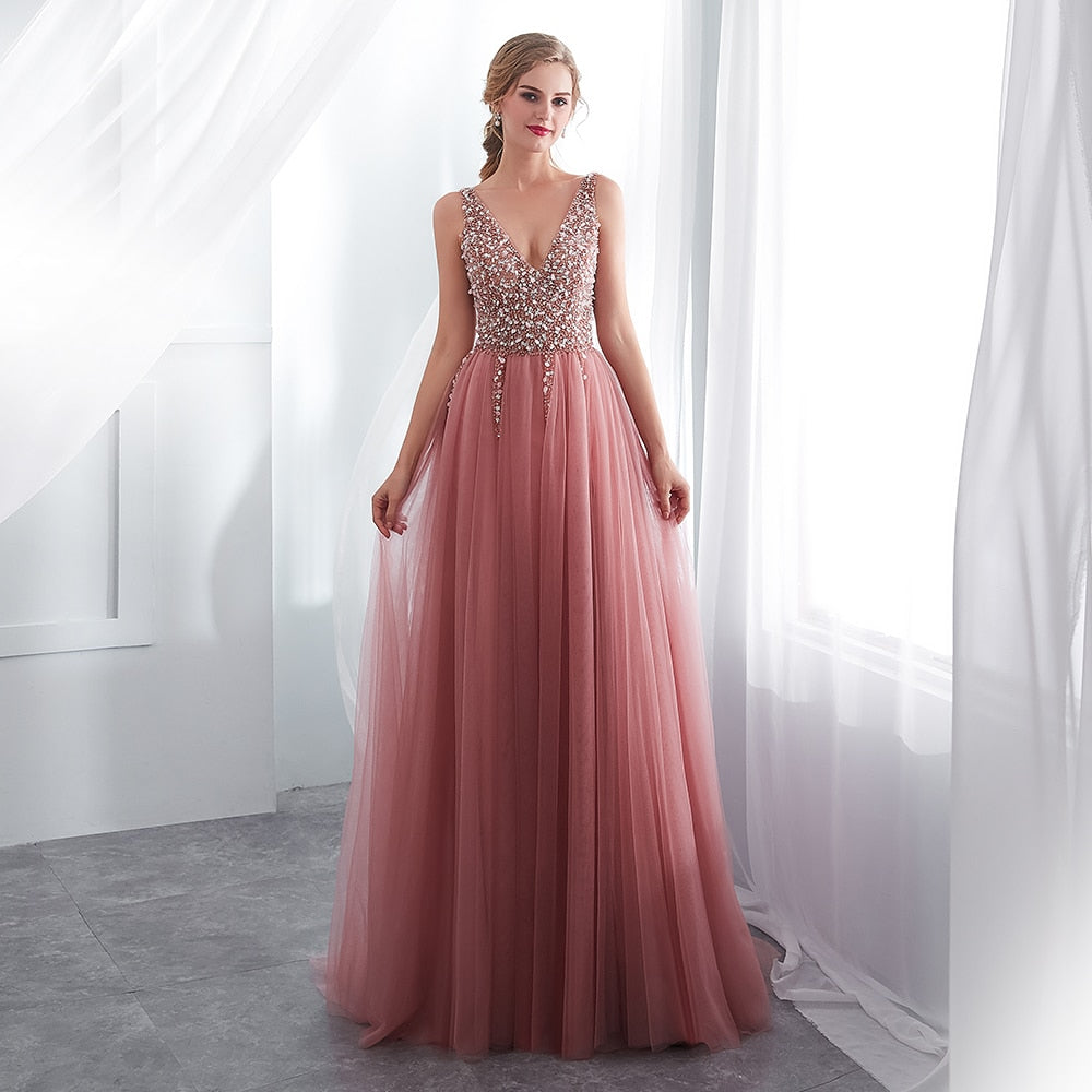 2020 Tulle Evening Dress V-Neck Pink Dress