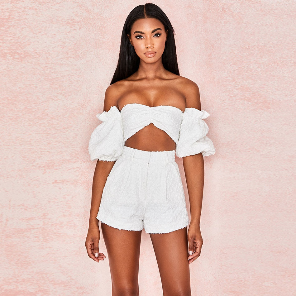 New Fashion 2 Piece White Set