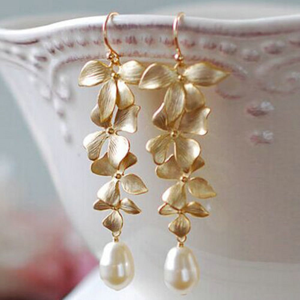 Golden Orchid Earring