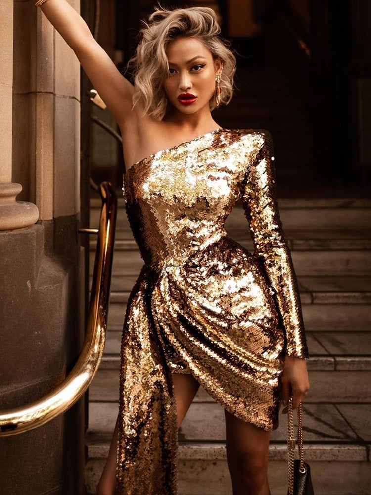 One Shoulder Long Sleeve Golden Glitter Party Dress