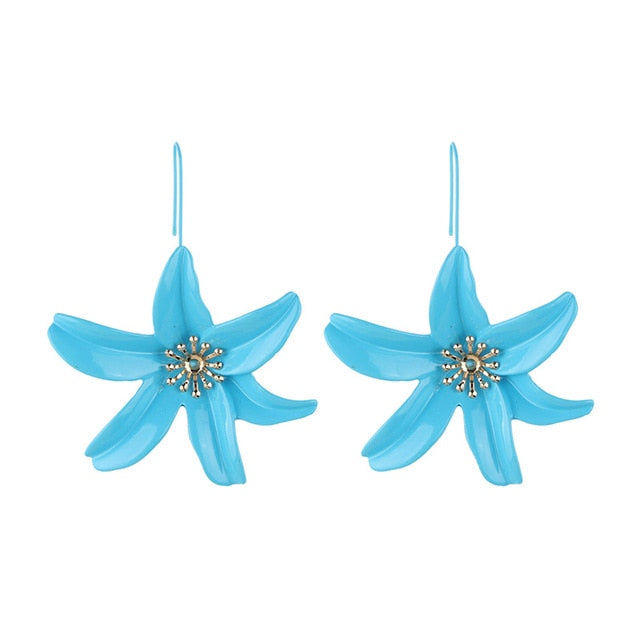 Hot Metal Flower Drop Dangle Earrings Trendy